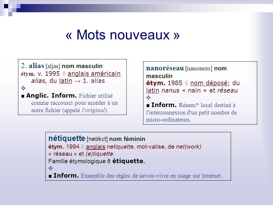 « Mots nouveaux » 2. alias [aljas] nom masculin
